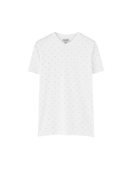 White all-over chilli print T-shirt