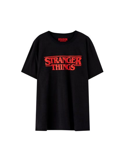 Black Netflix Stranger Things logo T-shirt