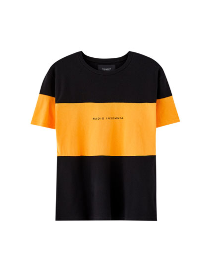Colour block and slogan T-shirt