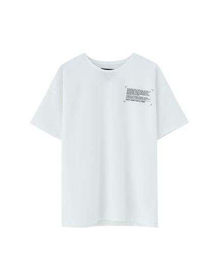 Textured T-shirt with slogan
