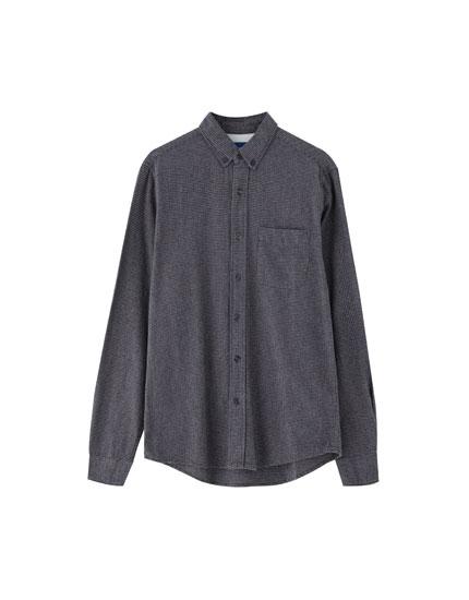 Basic flanellen pied-de-poule overhemd