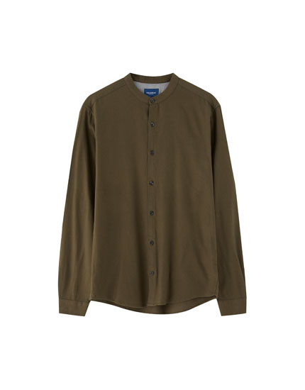 Mandarin collar shirt with long sleeves