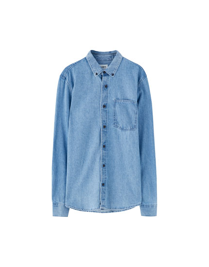 Basic denim overhemd