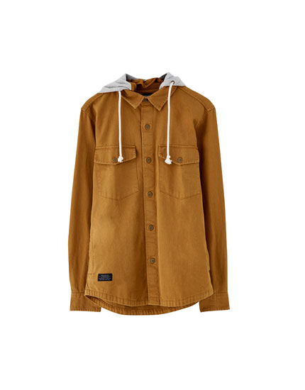 Twill overshirt with detachable hood