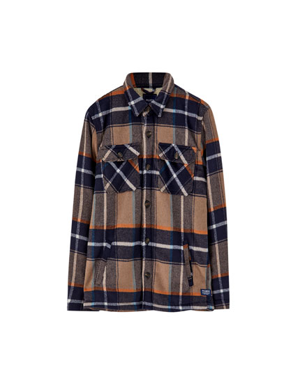 Checked overshirt with lining
