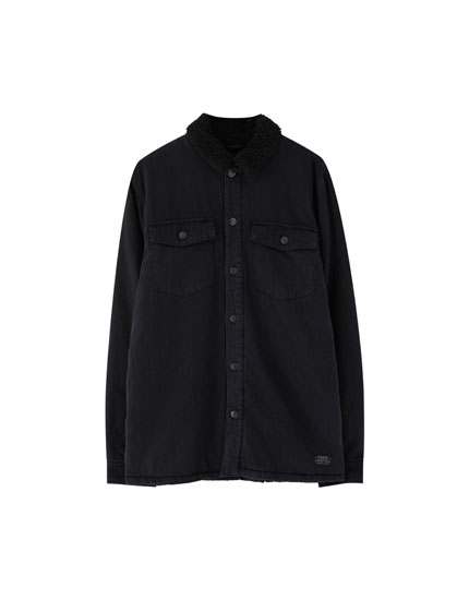 Black denim overshirt with faux shearling collar