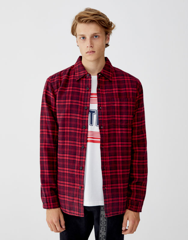 Pull & Bear - Camisa franela acolchado ligero - 5