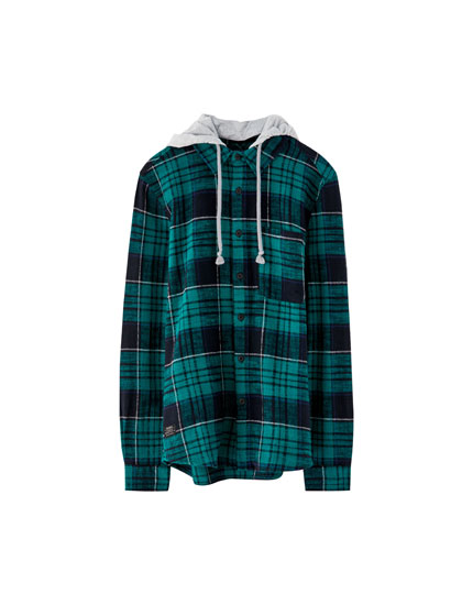 Flannel hooded overshirt