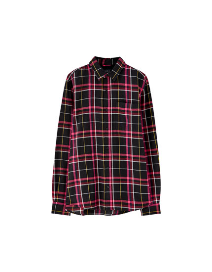 Neon checked flannel shirt