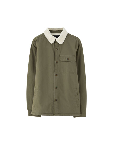Khaki overshirt with faux shearling collar