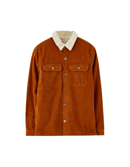 Corduroy overshirt with faux shearling