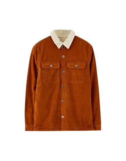 Jachetă overshirt din catifea cord cu blană de miel sintetică