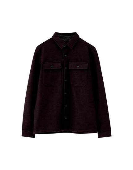 Plain woolly fabric overshirt