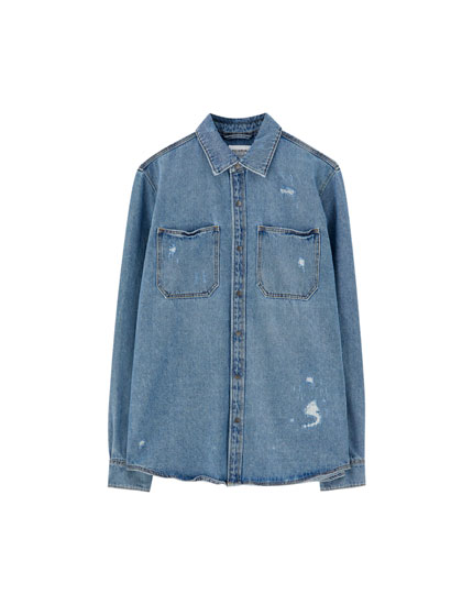 Ripped denim overshirt