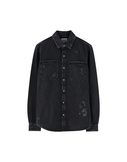 Sobrecamisa denim rotos