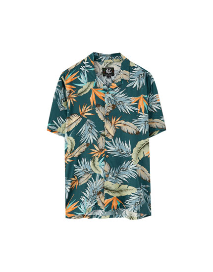 Leaf print viscose summer shirt