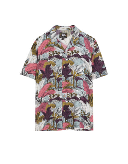 Colourful jungle print viscose shirt