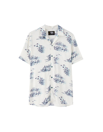 Double print viscose shirt