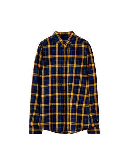 Flanellen overhemd met gele ruiten