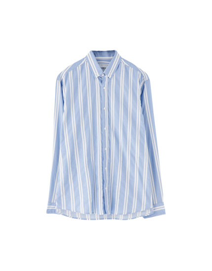 Relaxed fit vertical stripe print shirt