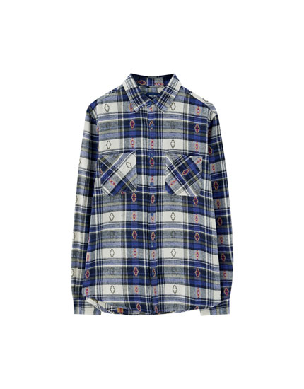 Check shirt with patterned motifs