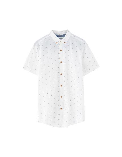 Mini desenli kısa kollu gömlek