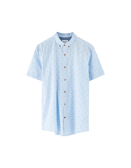 Short sleeve mini print shirt