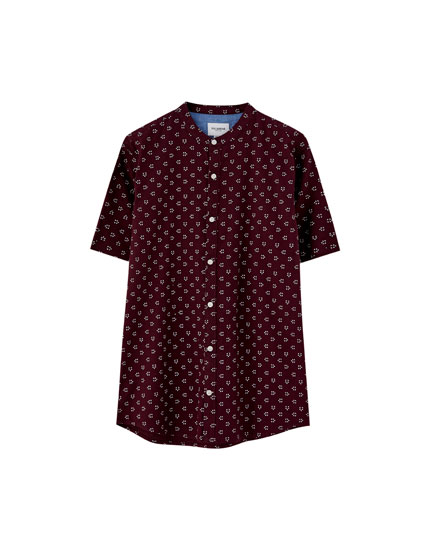 Short sleeve stand-up collar shirt