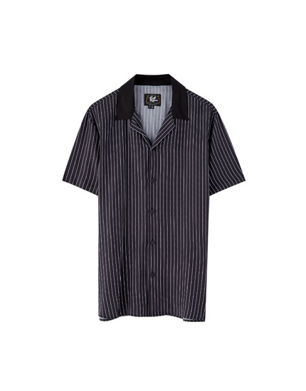 Viscose shirt with contrasting collar