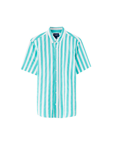 Coloured wide stripe shirt