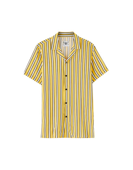 Yellow striped viscose shirt