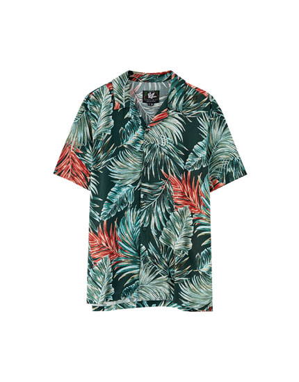 Viscose shirt with jungle leaf print
