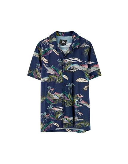 Viscose overhemd met landschappenprint