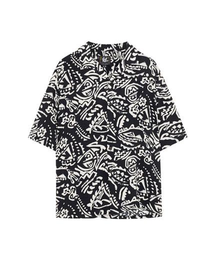African print viscose shirt