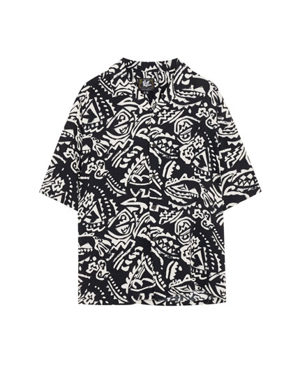 Tribal print viscose shirt