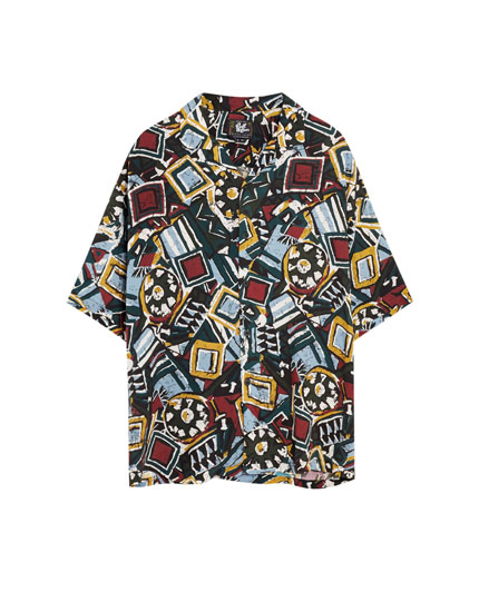 Colourful tribal print viscose shirt