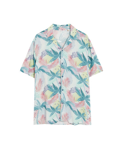 Shirt with tropical flowers