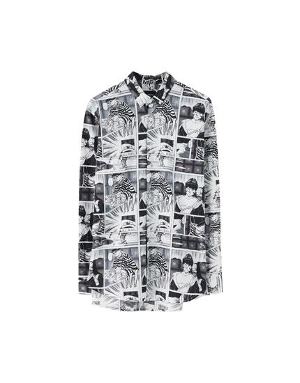 Overhemd met stripverhaalprint