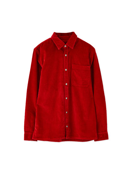 Corduroy shirt with snap buttons