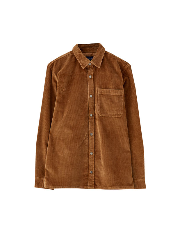 588619974977 Corduroy shirt with snap buttons - PULL BEAR