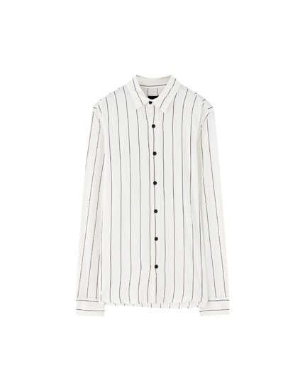 Striped long sleeve viscose shirt