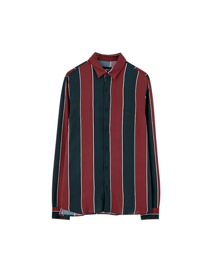 Wide-striped viscose shirt