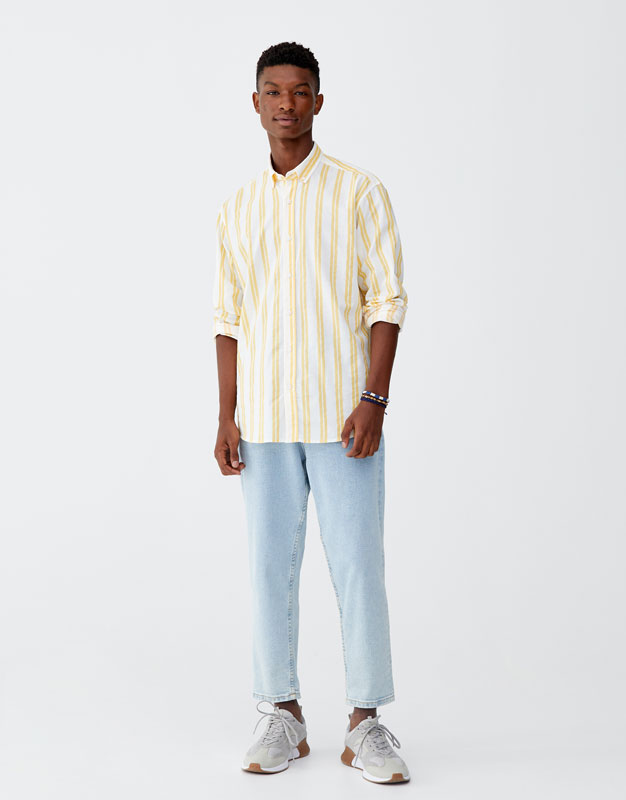 Shirt With Two Tone Stripes by Pull & Bear