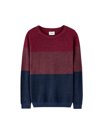 Twisted yarn colour block knit sweater