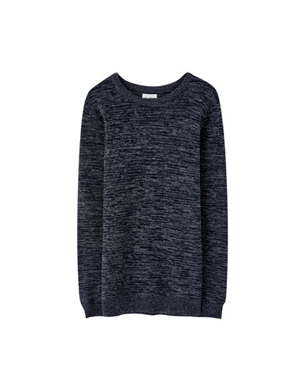 Dark indigo textured knit sweater
