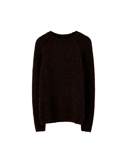 Chocolate brown chunky knit chenille sweater