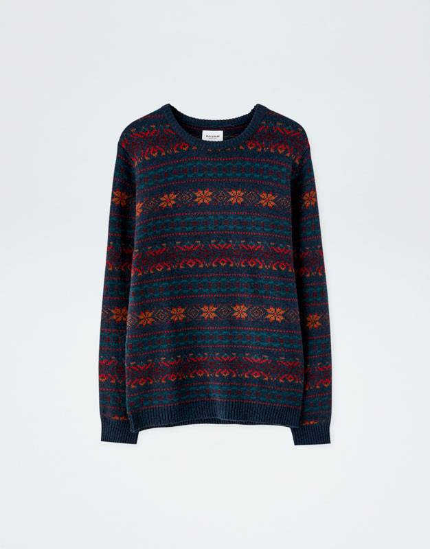 0b909ae90 Sweater com jacquard all over - PULL BEAR