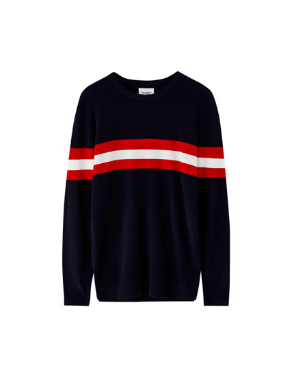 Raised panel knit sweater