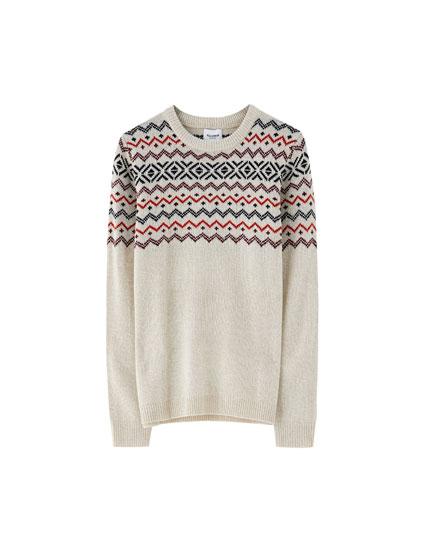 Sweater jacquard canesú