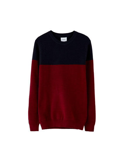 Colour block Ottoman knit sweater